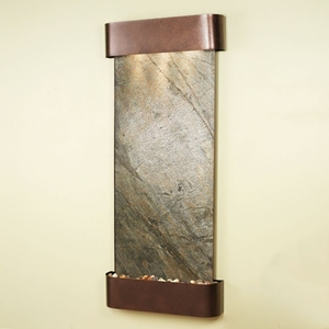 Inspiration Falls Green Featherstone Wall Fountain - Copper Vein Frame