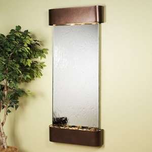 Inspiration Falls Silver Mirror Wall Fountain - Copper Vein Frame
