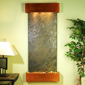Inspiration Falls Wall Fountain in Green Slate with Square Trim Copper Frame