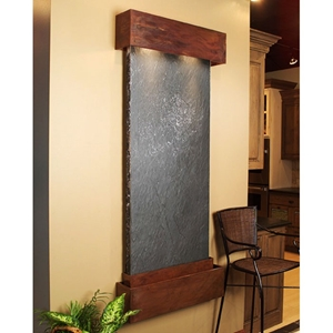 Inspiration Falls Black Featherstone Wall Fountain - Square Edge Copper Frame