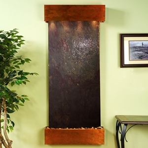 Inspiration Falls Square Edge Copper Frame Wall Fountain in Rajah Featherstone