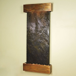 Inspiration Falls Black with Rust Slate Wall Fountain - Square Trim Copper Frame