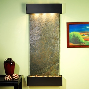 Inspiration Falls Wall Fountain in Green Slate with Square Trim