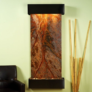 Inspiration Falls Rainforest Brown Wall Fountain - Square Trim