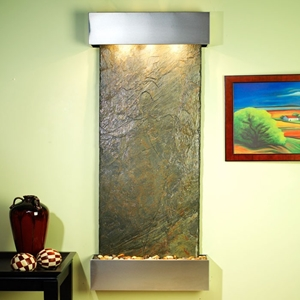 Inspiration Falls Wall Fountain in Green Slate with Stainless Steel Frame