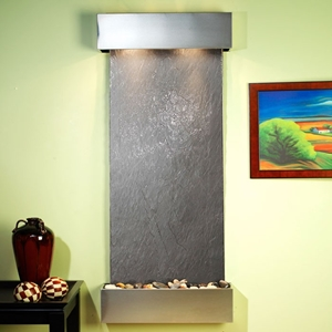 Inspiration Falls Black Featherstone Wall Fountain - Stainless Steel Frame