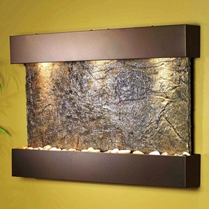 Reflection Creek Green Slate Wall Fountain with Bronze Frame