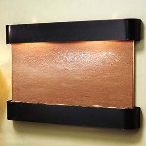 Sunrise Springs Wall Fountain with Blackened Copper Frame - Terra Red Featherstone