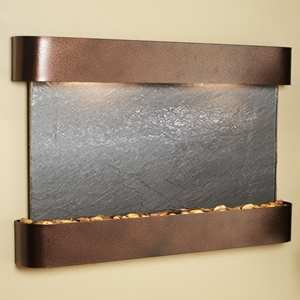 Sunrise Springs Black Featherstone Wall Fountain - Copper Vein Frame