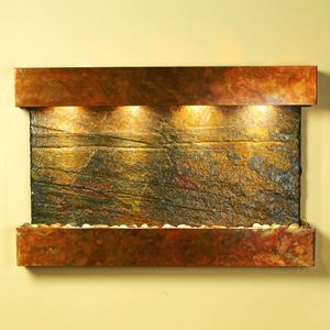 Sunrise Springs Wall Fountain in Green Slate with Square Edge Copper Frame