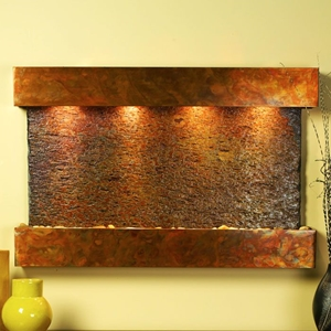 Sunrise Springs Square Edge Copper Frame Wall Fountain in Rajah Slate