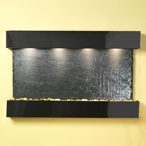 Sunrise Springs Black Slate Wall Fountain with Square Trim