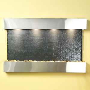 Sunrise Springs Black Slate Wall Fountain with Stainless Steel Frame