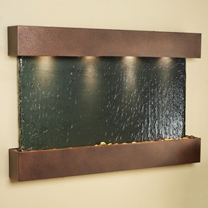 Sunrise Springs Black Slate Wall Fountain with Square Edge Copper Vein Frame