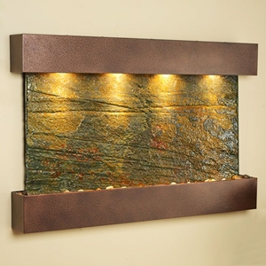Sunrise Springs Wall Fountain in Green Slate with Square Edge Copper Vein Frame