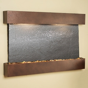 Sunrise Springs Black Featherstone Wall Fountain - Square Edge Copper Vein Frame