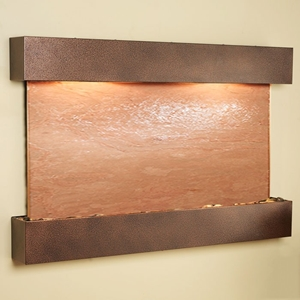 Sunrise Springs Wall Fountain with Square Edge Copper Vein Frame - Terra Red Featherstone