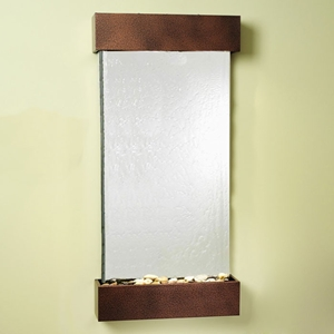 Whispering Creek Wall Fountain in Silver Mirror with Copper Vein Frame