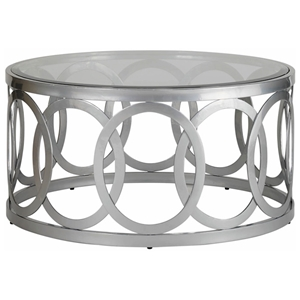 Alchemy Round Cocktail Table - Frosted Glass Top