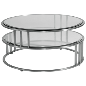 Mirage Round Cocktail Table - Brushed Stainless Steel, Clear Glass