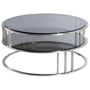 Mirage Round Cocktail Table - Stainless Steel, Smoked Grey Glass