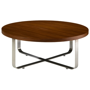 Artesia Round Cocktail Table - Walnut Stain Top, Satin Nickel Base