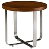 Artesia Round End Table - Walnut Stain Top, Satin Nickel Base - ACD-20901-02-W