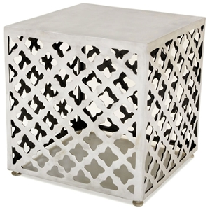 Grenada Square End Table - Polished Cast Aluminum