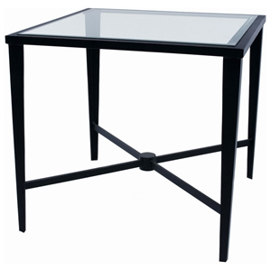 Belmont Square End Table - Old Iron, Glass Top, Tapered Legs
