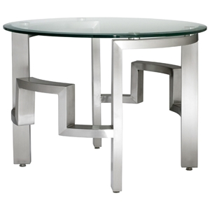 Stella End Table - Round Glass Top, Brushed Stainless Steel Base