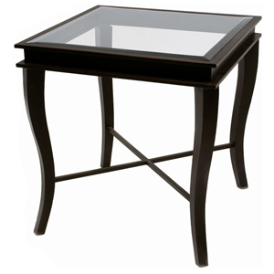 Dania Metal End Table - Yard Gold Finish, Square Glass Top