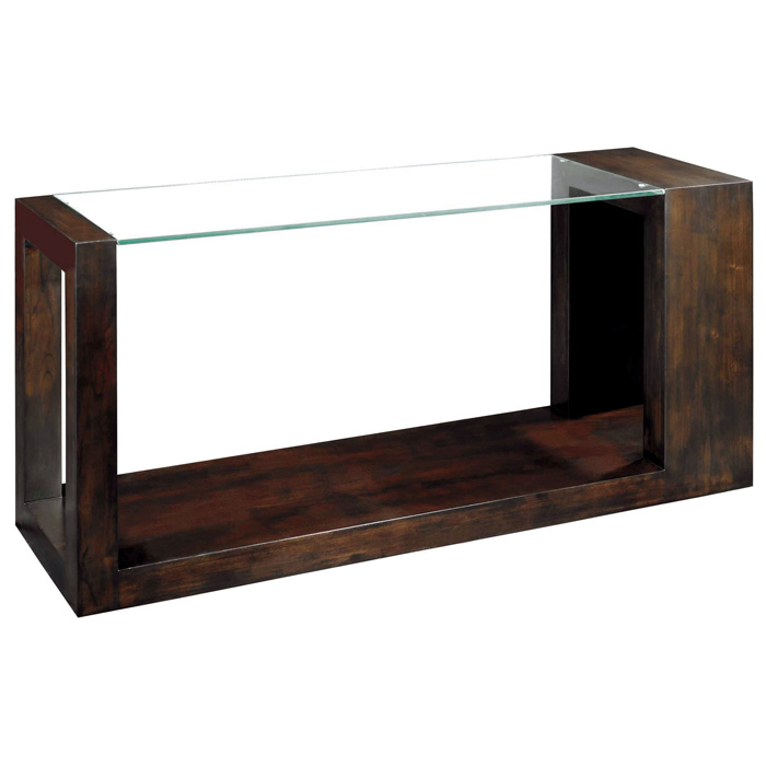 Dado Console Table Espresso Wood Amp Clear Glass Top