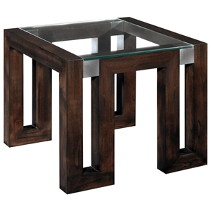 Calligraphy End Table - Espresso, Glass Top, Stainless Steel Accents