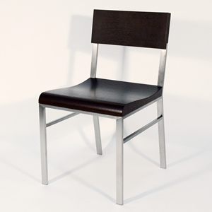 Force Side Chair - Brushed Stainless Steel, Mocha on Oak