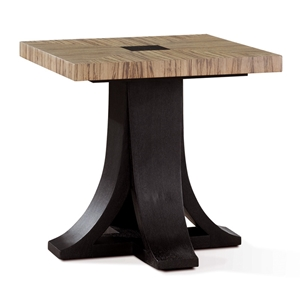 Bonita Square End Table - Zebrawood, Mocha on Oak