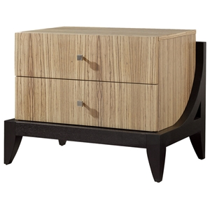 Bonita 2-Drawer Nightstand - Zebrawood, Mocha on Oak