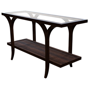 Sebastian Console Table - Espresso on Birch, Rectangular Glass Top