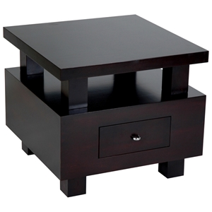 Lexington End Table - Espresso, Elevated Square Top, 1 Drawer