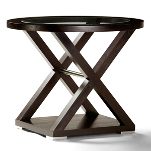 Halifax End Table - Espresso, Glass Inlay, Stainless Steel Accents