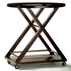 Halifax Server Cart - Espresso, Stainless Steel Accents, Casters