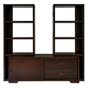 Pavilion 3 Piece Wood Entertainment Set - Espresso, Satin Nickel
