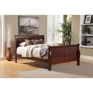 Louis Philippe II Sleigh Bed - Cherry