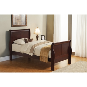Louis Philippe II Twin Sleigh Bed - Cherry