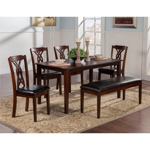 Provo 5-Piece Dining Set with 4 Chairs - Dark Cherry