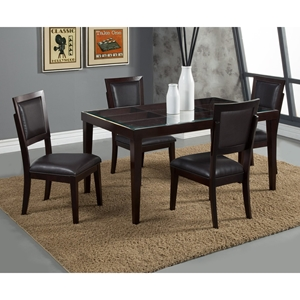 Midtown 5-Piece Dining Set with Black Upholstered Chairs