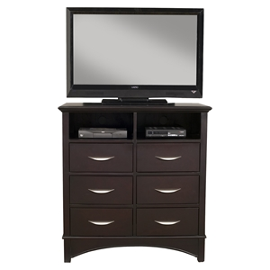 Del Mar TV Media Chest - 2 Console Openings, 6 Drawers, Dark Espresso