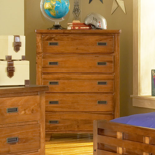 Heartland 5-Drawer Chest in Spice Brown