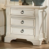 Heirloom 3 Drawer Nightstand - Antique White, Pewter Rings - AW-2910-430