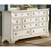 Heirloom Triple Dresser - Antique White, 10 Drawers, Pewter Rings