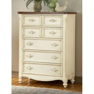 Chateau Antique White 5-Drawer Chest